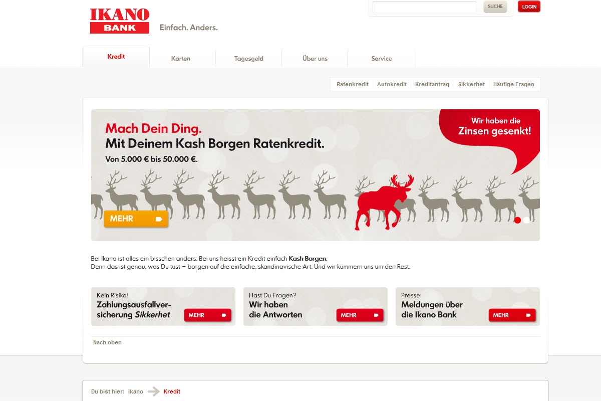 Ikano Bank Homepage