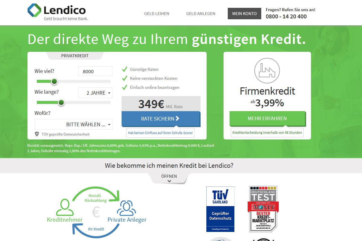 Lendico Homepage