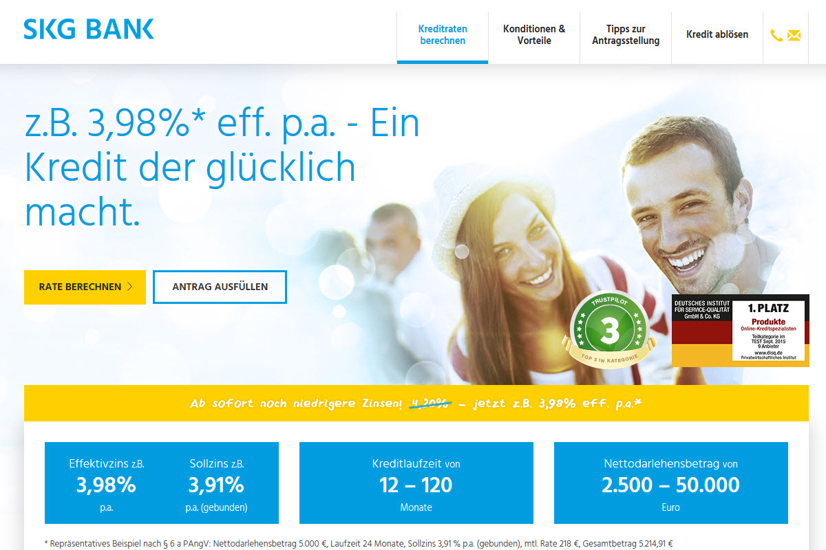 SKG Bank Homepage