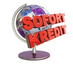 Globus im Hintergrund mit Beschriftung Sofort-Kredit